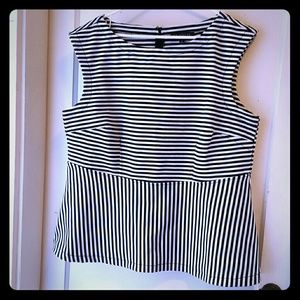 Black and white striped peplum top.